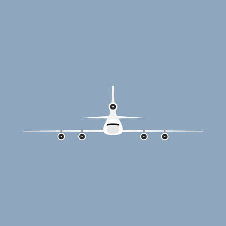 Airplane flight transportation travel vehicle front view. Flat vector commercial illustration