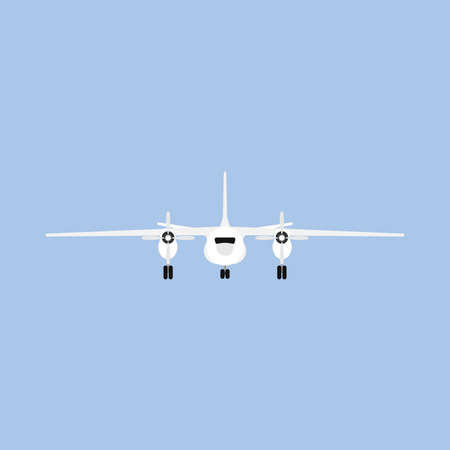 Plane travel transportation vector airliner front view. Flat business aviation transport isolated