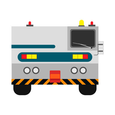 Airport tow truck vector flat front view. Evacuation transportation airplane service rescue