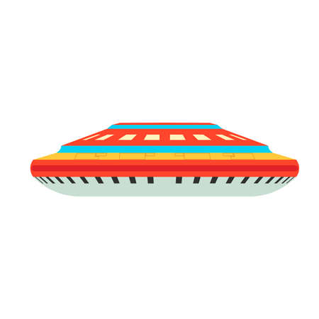 Alien spaceship astronomy ufo vehicle flat. Invaders transport concept shuttle cosmos vector.