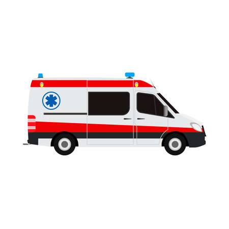 Ambulance van flat vector side view. Help emergency auto red transportation rescue