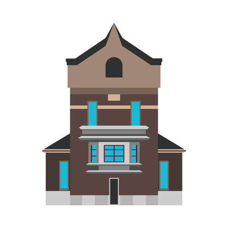 Residential vector flat house icon. Concept building structure real estate district