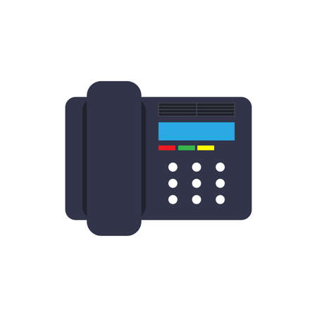 Symbol device illustration isolated equipment black. Talk desk object telephone receiver. Cell phone workplace office. Old home retro support service. Vector art help connect icon voip flat. Vettoriali