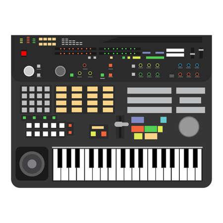 Il pianoforte classico delle chiavi di prestazione della tecnologia di progettazione dell'illustrazione. Logo musicale del sintetizzatore di compositore professionale. Tastiera dello strumento mixer basso stereo multimediale. Studio sfondo vectir DJ icona suono. Logo