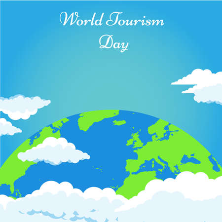 World tourism day background with green Earth and clouds vector illustration poster
