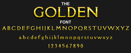 Golden font and alphabet with numbers. Vector typography letter design.