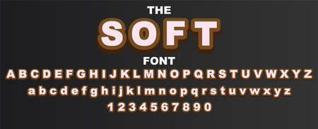 Soft font and alphabet with numbers. Vector typography letter design.
