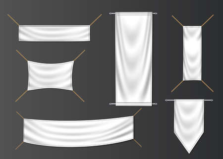 Textile banner and flag set. Fashion fabric creative blank vector art.