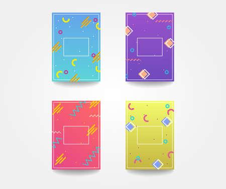 Modern memphis background element design. Vector geometric poster set.