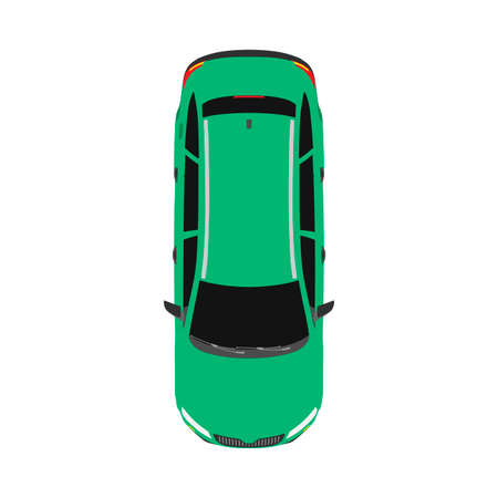 Car top view transportaion concept vector flat icon illustration Ilustração