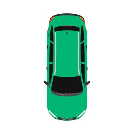 Car top view transportaion concept vector flat icon illustration Иллюстрация