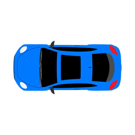 Car top view isolated on white automobile flat vector icon