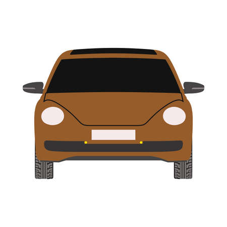 Car front view transportaion style. Flat vector isolated icon Ilustração