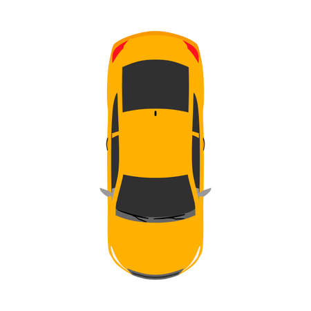 Car top view concept urban automobile flat vector icon isolated on white