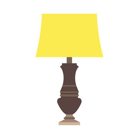 Lamp bedside light vector art isolated. Interior equipment icon front view furniture