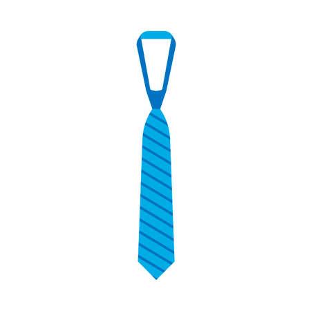 Krawatte Kleidung Vektor Zubehörelement Geschäftsmann. Flache blaue Seidenkrawatte einfaches Symbol.