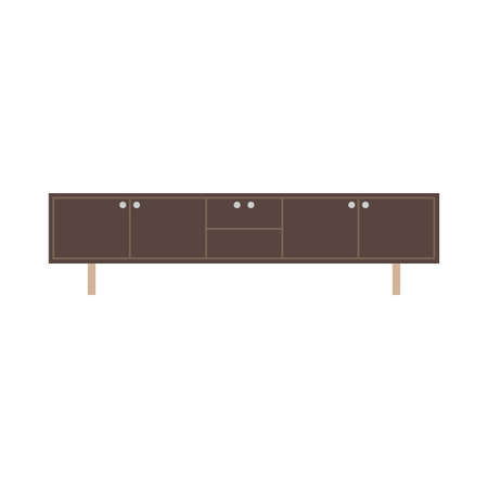 Cabinet apartment equipment isolated box. Interior simple vintage loft contemporary wood icon vector.