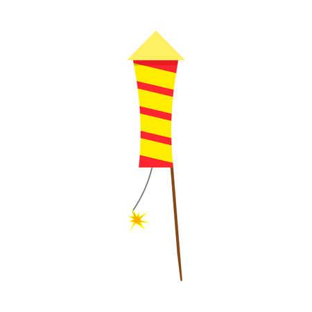 Fireworks bright decoration spark vector. Pyrotechnics firecracker invitation red fire gift celebrate
