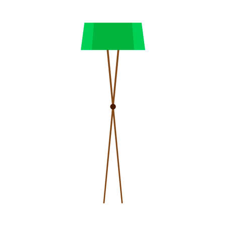 Floor lamp concept comfortable green bright interior. Room trendy vector flat icon light