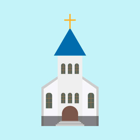 Church architecture landmark christianity tower icon. Simple vintage god building vector