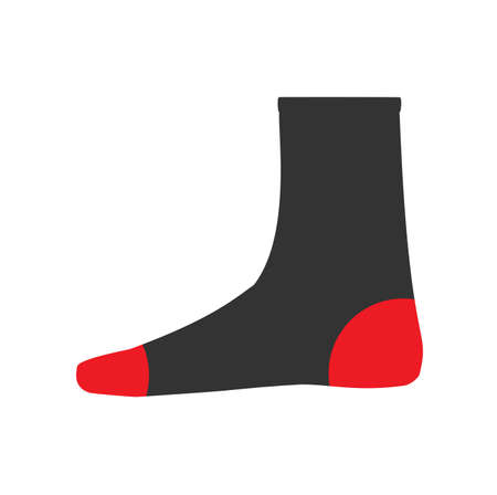 Socks foot vector symbol textile. Fabric wear isolated white red illustration clothing