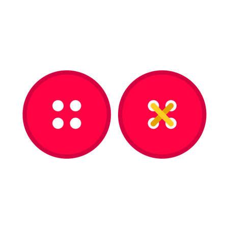 Vestido botón rojo ropa símbolo tela pictograma vector conjunto de iconos. Sastre de costura accesorio artesanal