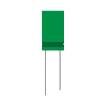 Capacitor green electrical closeup network circuit element vector icon. Computer repair microchip system
