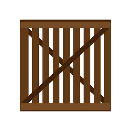 Crate packaging wooden brown symbol vector icon. Transportation goods box flat cargo container Banque d'images - 122779512