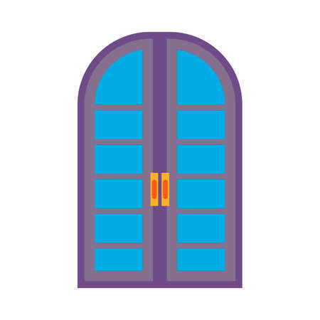 Door metal entry symbol vector icon front view. Home entrance room interior with doorknob. Illusztráció