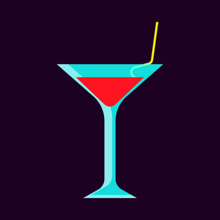Cocktail glass drink bar alcoholic party vector icon. Liquid refreshment red nightclub beverage  イラスト・ベクター素材