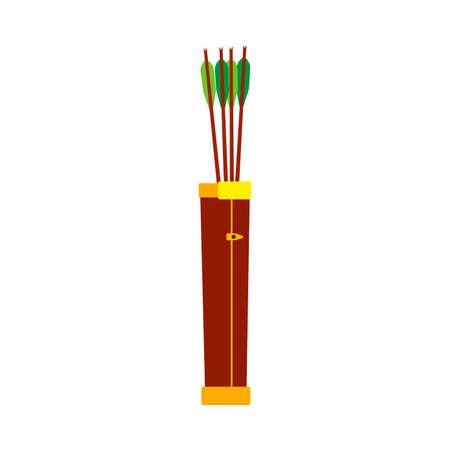 Arrow quiver bow feather design vintage vector icon. Cartoon native archery equipment game elf fantasy