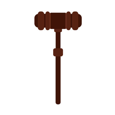Judge gavel wooden decision system law vector icon. Tribunal guilty hammer rule jurisprudence element Illusztráció