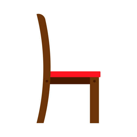 Chair side view wooden vector icon. Office comfortable symbol relaxation furniture equipment