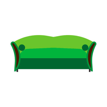 Sofa green front view vector flat icon. Comfortable room couch intrerior furniture concept. Indoor soft bed
