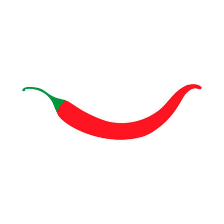 Red chili pepper ingredient vegetarian design vector icon top view. Cuisine color hot food isolated flat white.