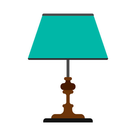 Table lamp bright style electric symbol vector icon. Indoor equipment loft interior light. Furniture bedside