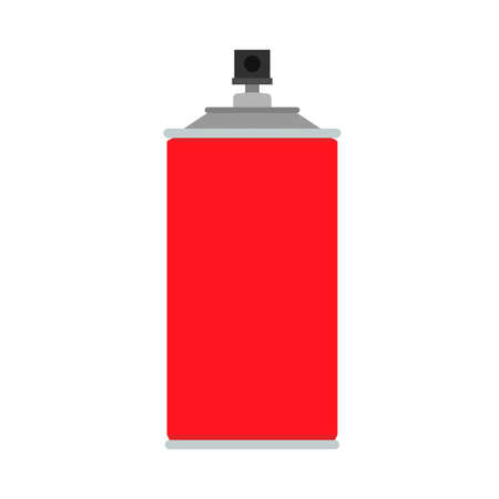 Spray paint can red graffiti aerosol vector icon equipment. Bottle tool street wall vandalism flat container