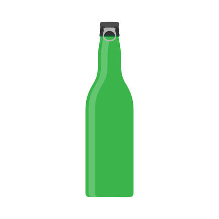 Beer bottle green vector symbol glass. Food alcohol flat icon front view drink. Pictogram pub party shop