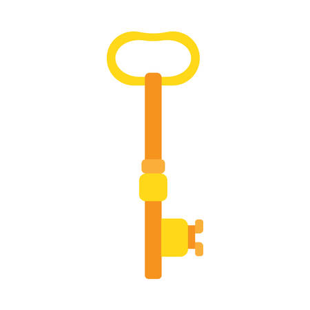 Key golden vector safety icon. Protection secure house shape closeup isolated. Simple vintage flat symbol