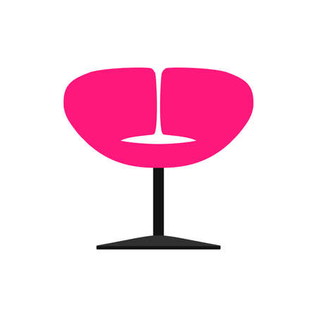 Club chair style illustration decoration front view vector icon. Bar nightclub relax stool. Party pub room interior
