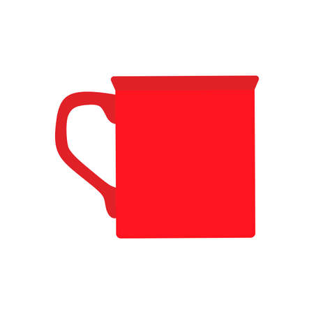 Cup coffee red side view vector flat closeup sign. Chocolate drink aroma hot restaurant mug Ilustrace