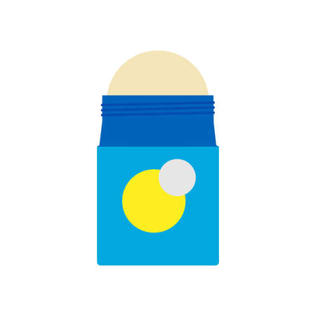 Deodorant illustration treatment health design vector icon. Smell and sweat roll bottle. Product cosmetic perspiration cream