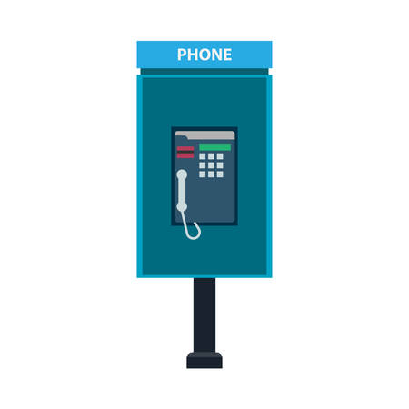 Phone booth call sign technology vector icon. Modern blue concept telecommunication flat outdoor city telephone Illustration