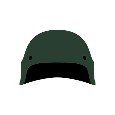 Military green helmet armor protection symbol equipment vector icon. Combat front view head ammunition war soldier