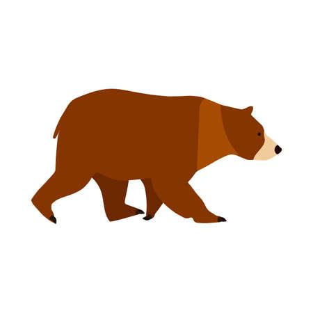 Bear brown character symbol vector icon side view. Cute mammal animal big predator illustration. Zoo grizzly cartoon