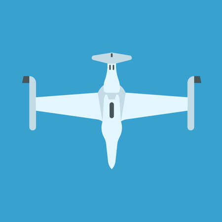 Drone white color top view vector icon. Flight equipment travel transport wireless camera business. Flat robot industry