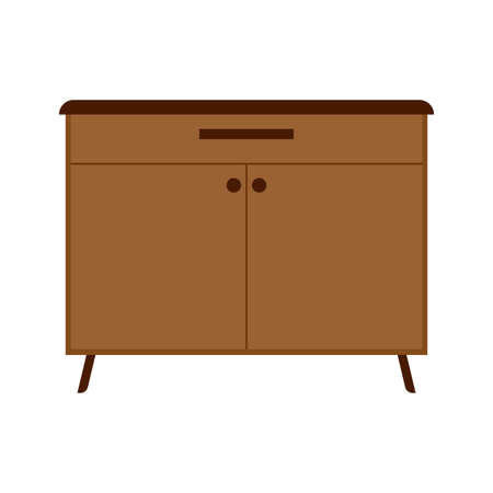 Drawer brown box style equipment retro with shelf. Apartment contemporary simple wooden furniture