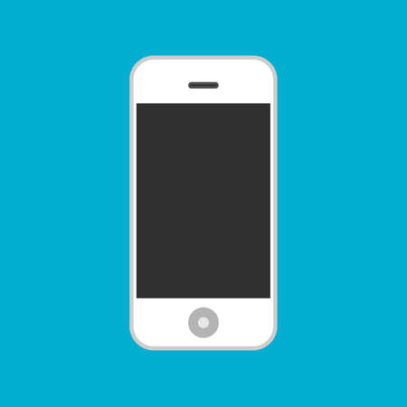 Smartphone front view flat equipment vector icon. Mobile screen gadget technology electronic. Device cellular white Ilustração
