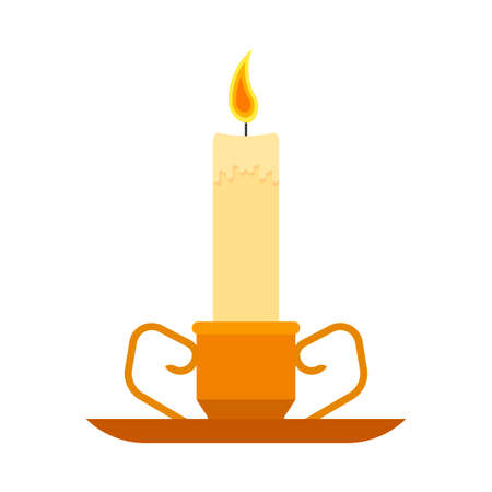 Ð¡andlestick holder decoration traditional symbol religious flat brass candle vector icon. Elegant ancient  luxury light Banque d'images - 121850673