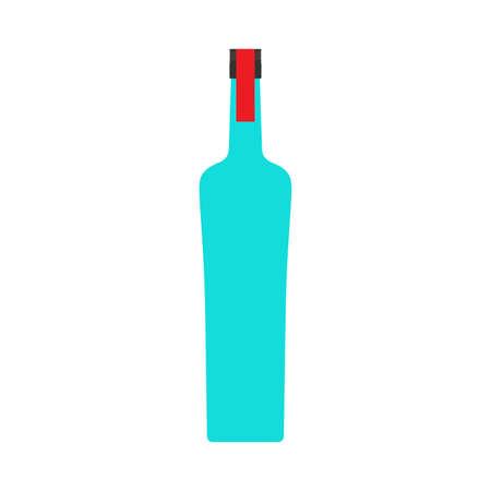 Vodka bottle liquid pub alcohol closeup vector symbol icon. Glass product drink shop